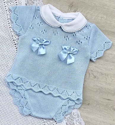 Baby Blue Bow Jam Pant Set