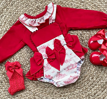 Vintage Country Double Bow Blouse and Romper