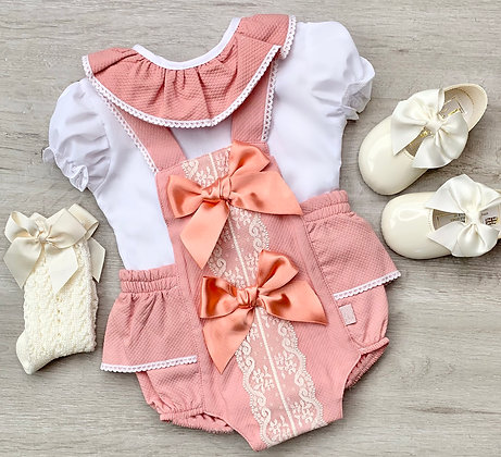 Chloe Blouse and Romper Coral