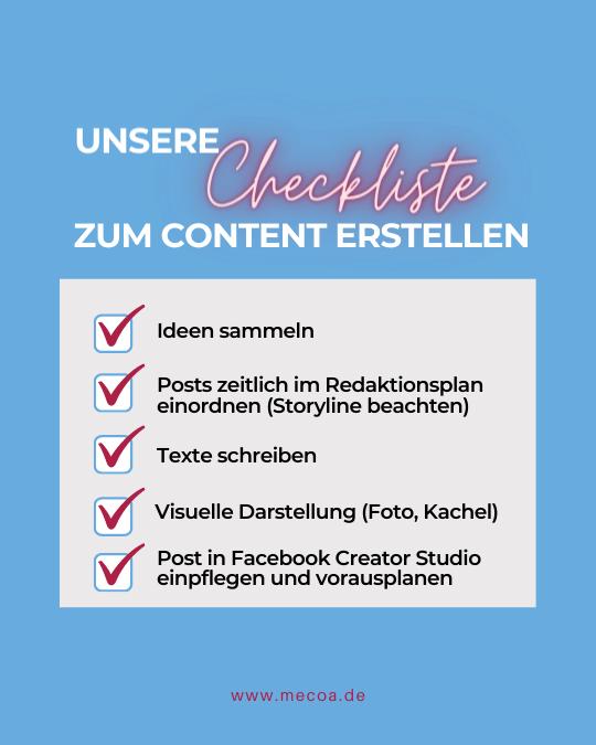 Content Erstellung als Checkliste mit Unterpunkten