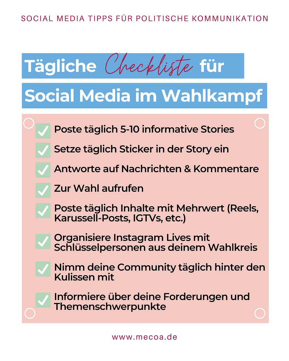 Tägliche Checkliste für Social Media im Wahlkampf