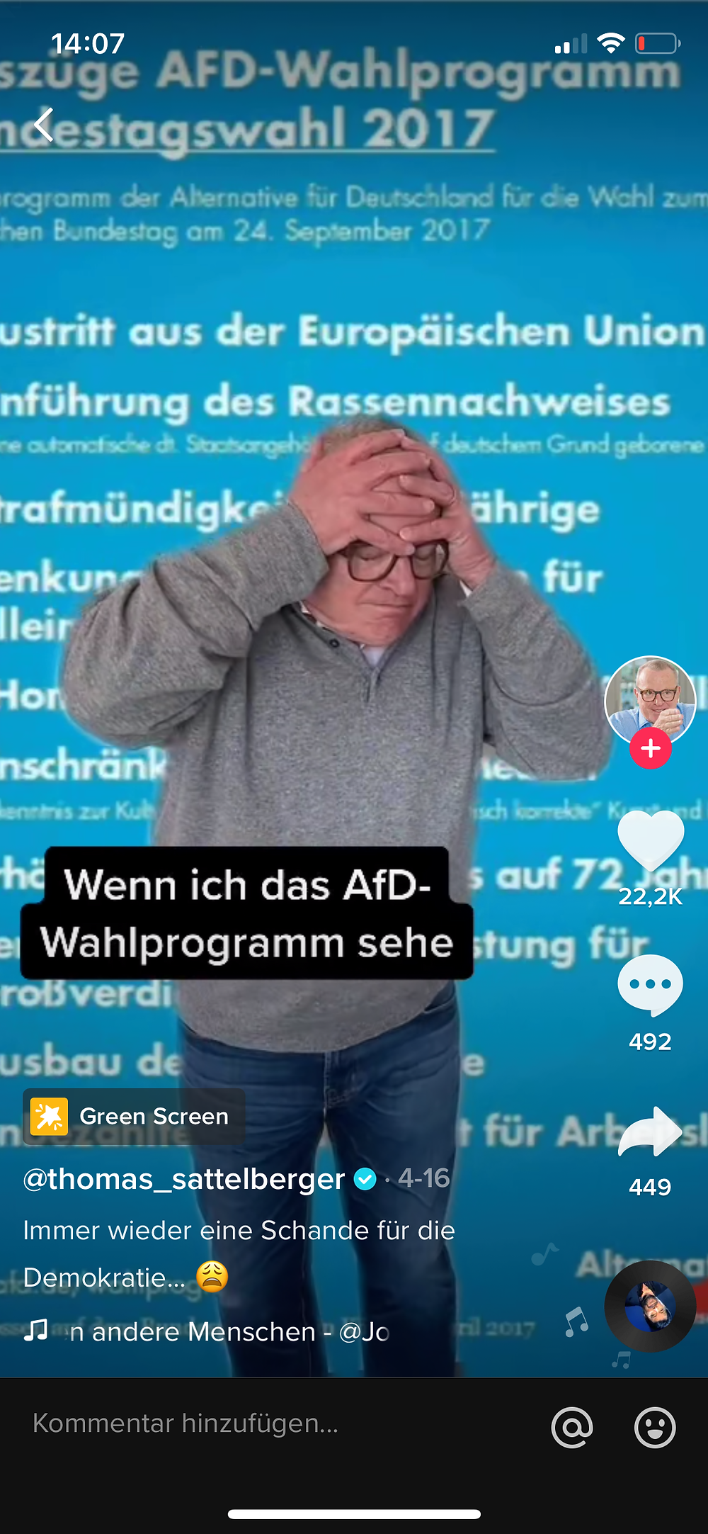 TikTok Account von Thomas Sattelberger