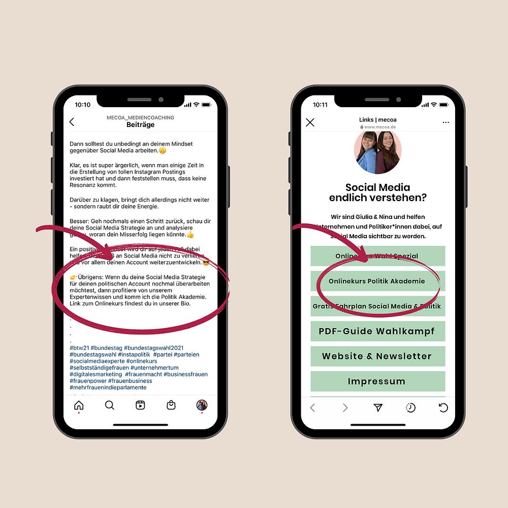 Beispiel eines Call to Action posts und eines Linktrees