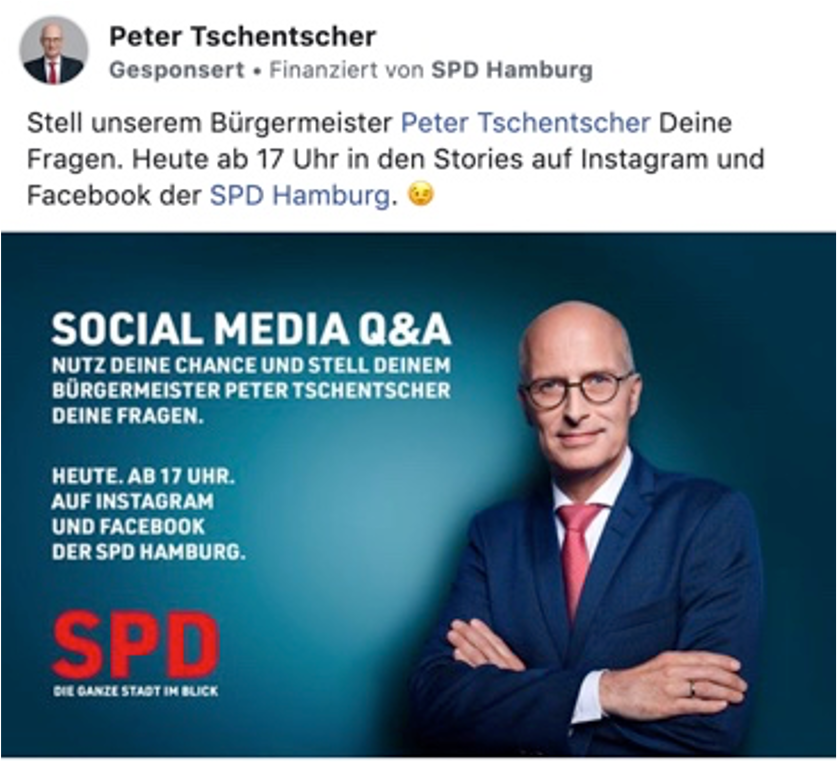 Social Media Wahlkampf Werbung Beispiel