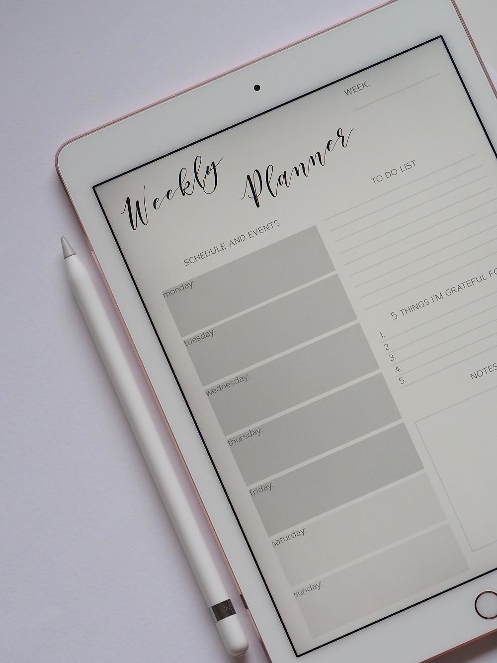 Wochenplaner auf dem man seine Social Media Posts Planen kann