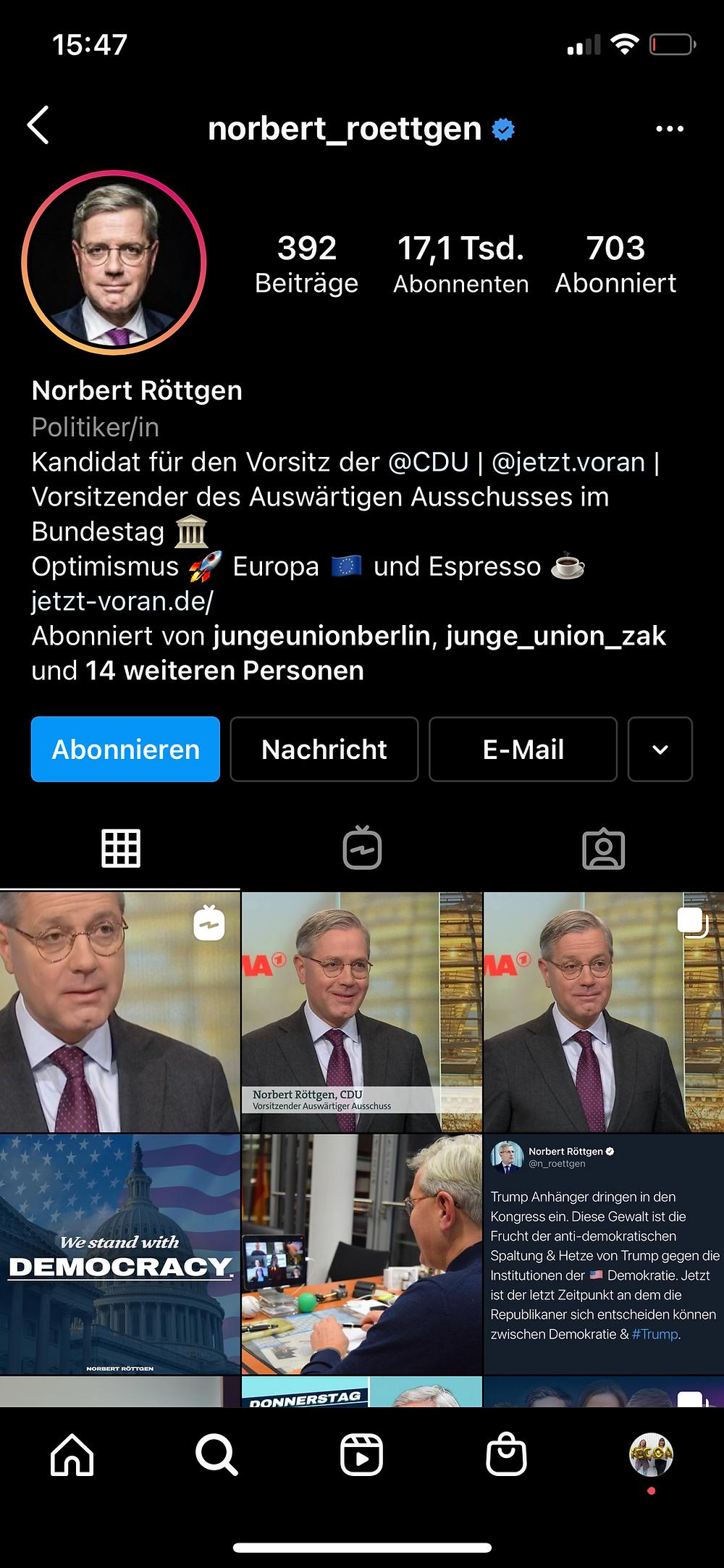 Screenshot von Norbert Roettgens Instagram Profil
