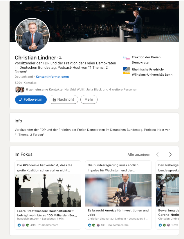 LinkedIn Profil Christian Lindner