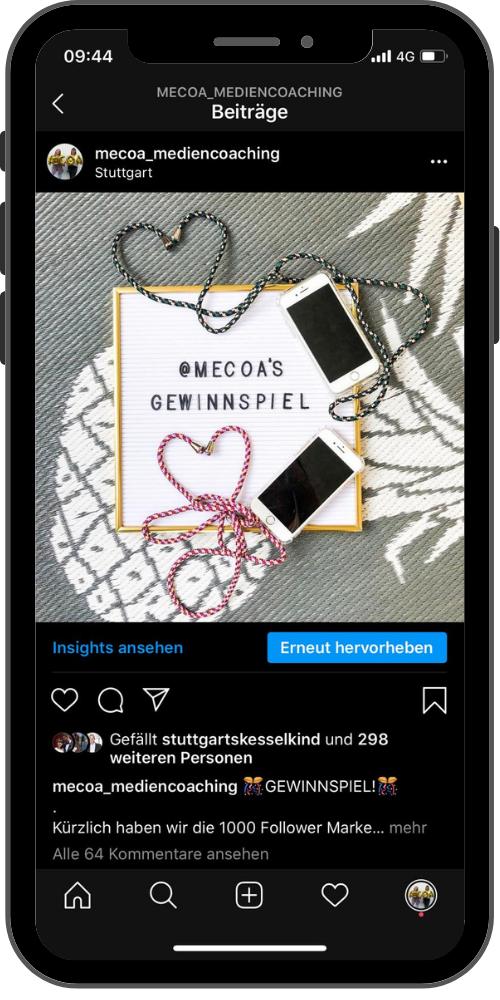 Gewinnspiel auf Instagram