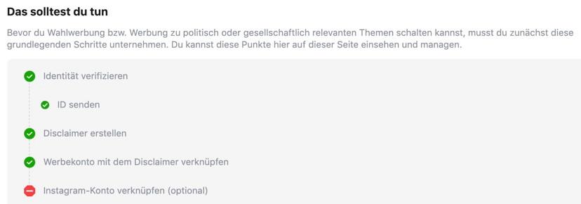 Steps politische Werbung Facebook