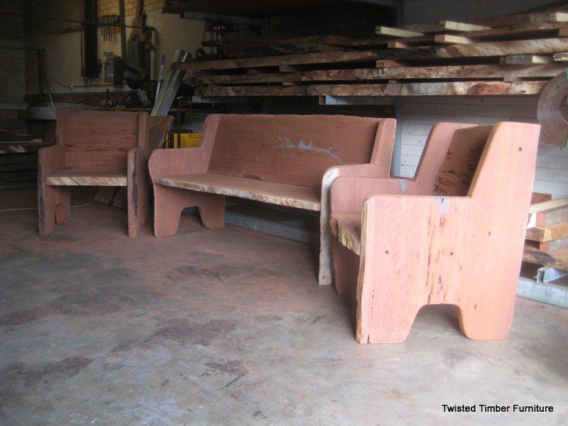 Jarrah Slab Seats