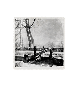 Canal Lock in the Snow - A3 Fine Art Print
