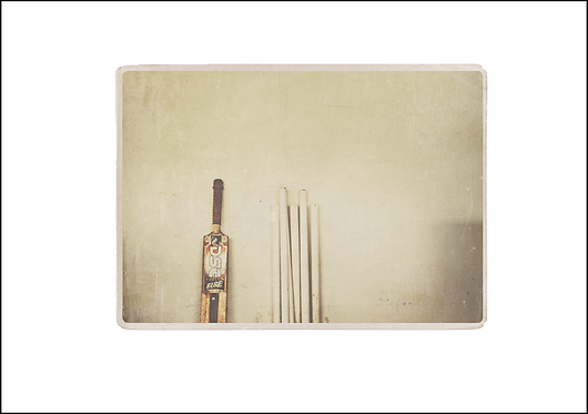 Cricket Bat & Stumps - A3 Fine Art Print
