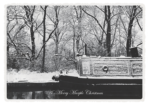 Marple Xmas Collection - Canal Barge Boat in the Snow
