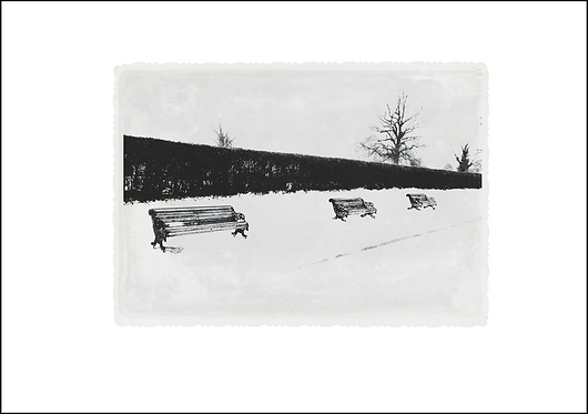 Benches in the Snow - A3 Fine Art Print
