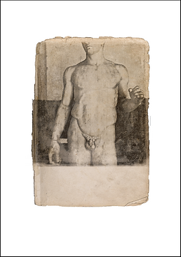 Nude Male Marble Figure - A3 Fine Art Print