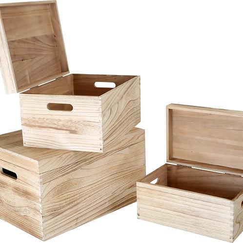 Malles en bois naturel par 3