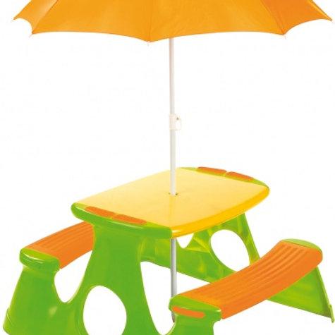 Paradiso Toys table de pique nique avec parasol 48cm vert/orange