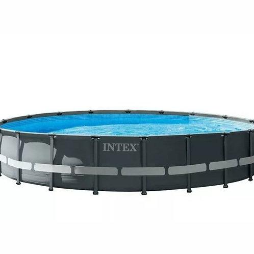 Intex piscine anthracite avec accesoires ultra xtr frame