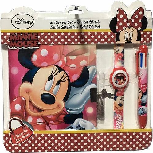 Set Minnie Bloc Note + montre + stylo 6 couleurs