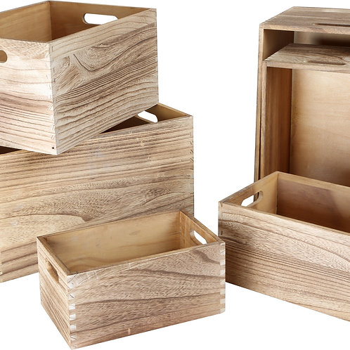 Caisse en bois naturel par 6, 10048