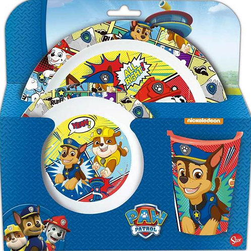 Nickelodeon set de vaisselle Paw Patrol junior bleu/blanc 3 pièces