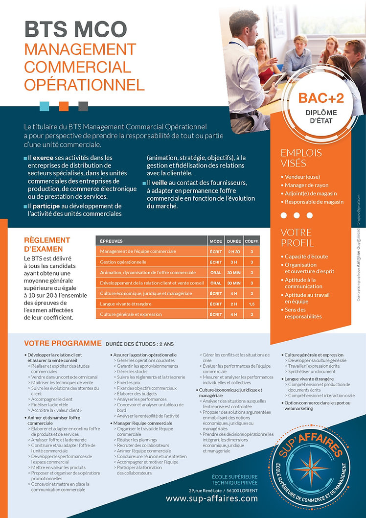 BTS MCO LORIENT MORBIHAN ALTERNANCE BAC+2 MANAGEMENT COMMERCIAL OPERATIONNEL GRATUITE OPTION SPORT WEBMARKETING