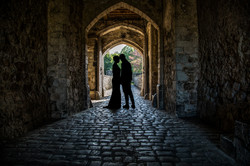 Silhouette of the bride and groom
