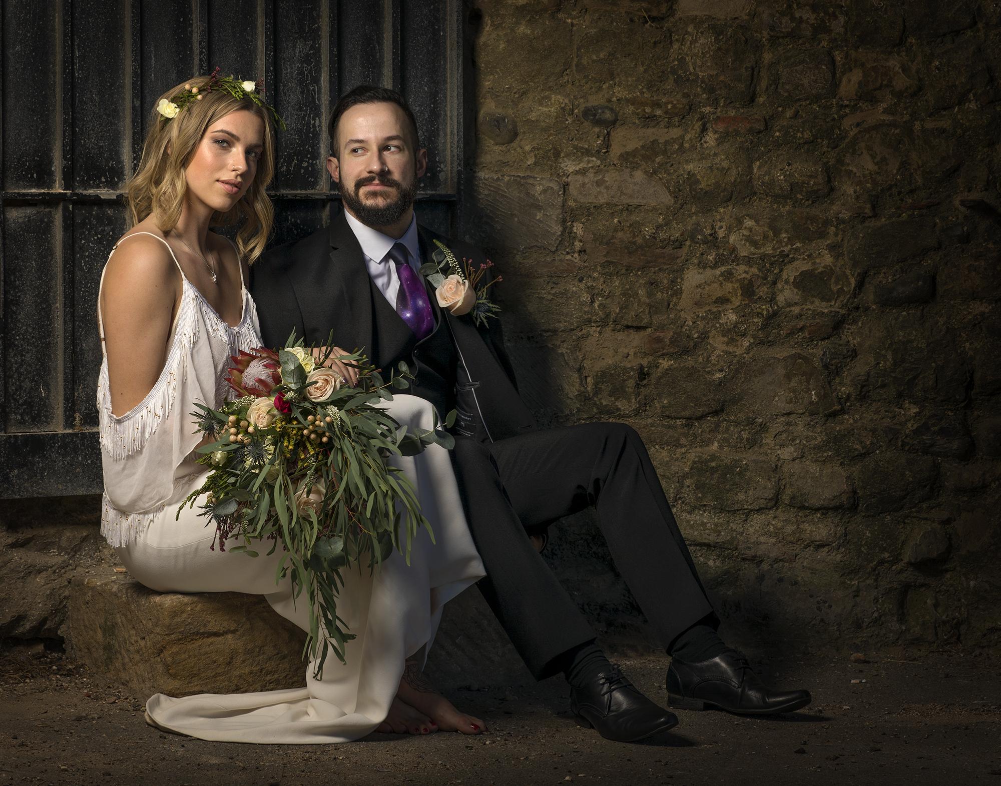 Wedding couple at Reculver