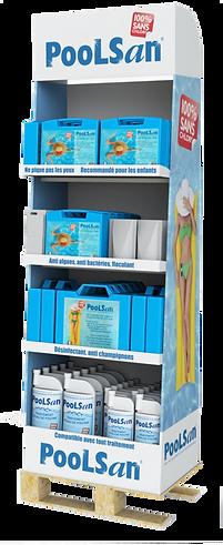 Poolsan® Box 1/4 de Palette : Traitement pour 29 Piscines. Personnalisez votre Box et optimisez votre espace de vente !