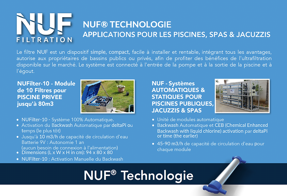 NUFiltration : Modules de filtration compacts pour piscines privées et publiques, hotellerie