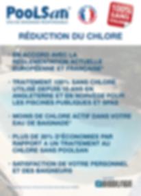 Reduction de chlore : En accord avec Règlementation Francaise et Européenne, Traitement Poolsan® Sans chlore utilisé depuis 10 ans pour les piscines publiques : Moins de chlore dans l'eau, 20% d'économies par an, Satisfaction du personnel et des baigneurs