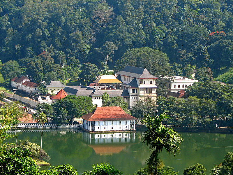 The Temple of the Tooth and the Kandy Lake, Kandy, Sri Lanka.