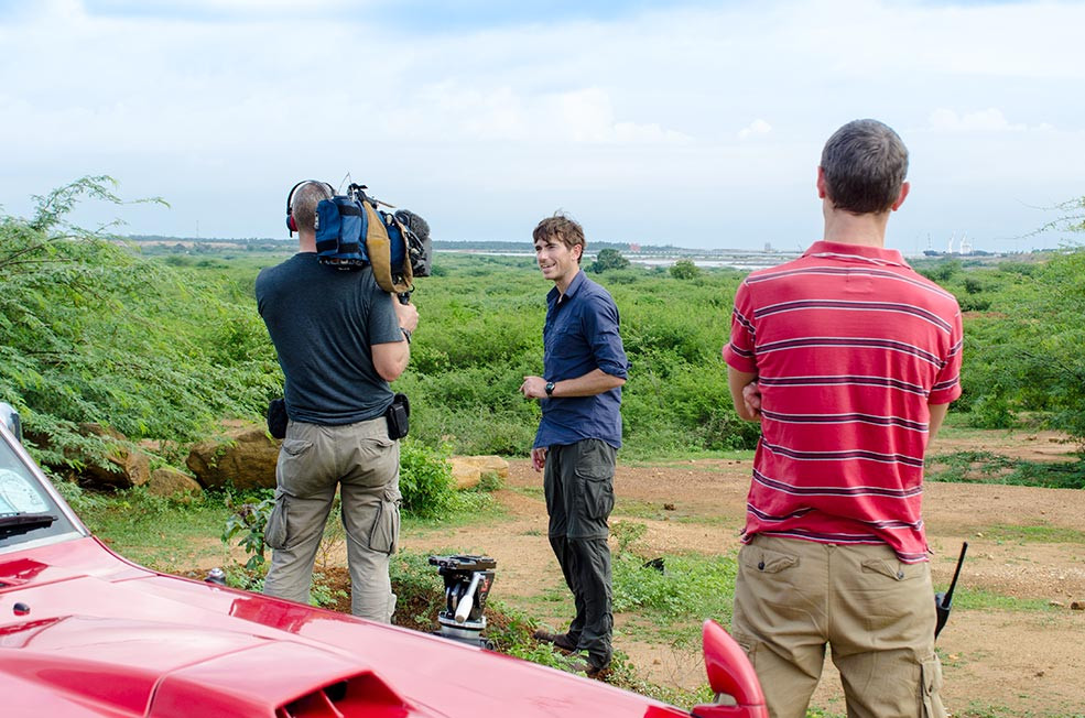 BBC Presenter Simon Reeve being filmed in Hambantota Sri Lanka