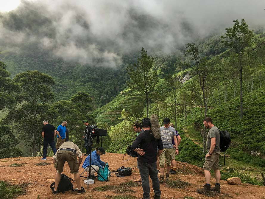 Film crew sets up to film on Devil's staircase in Sri Lanka. Matt Leblanc