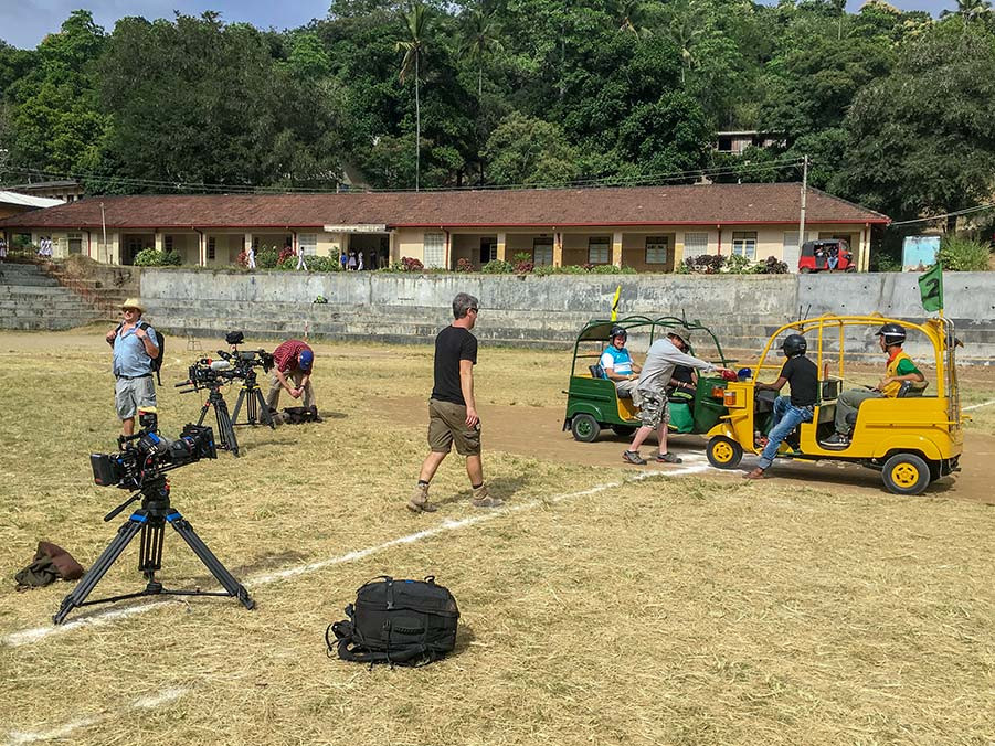 Two Tuk Tuks being positioned in front of a video camera. Filming Tuk Tuk Polo
