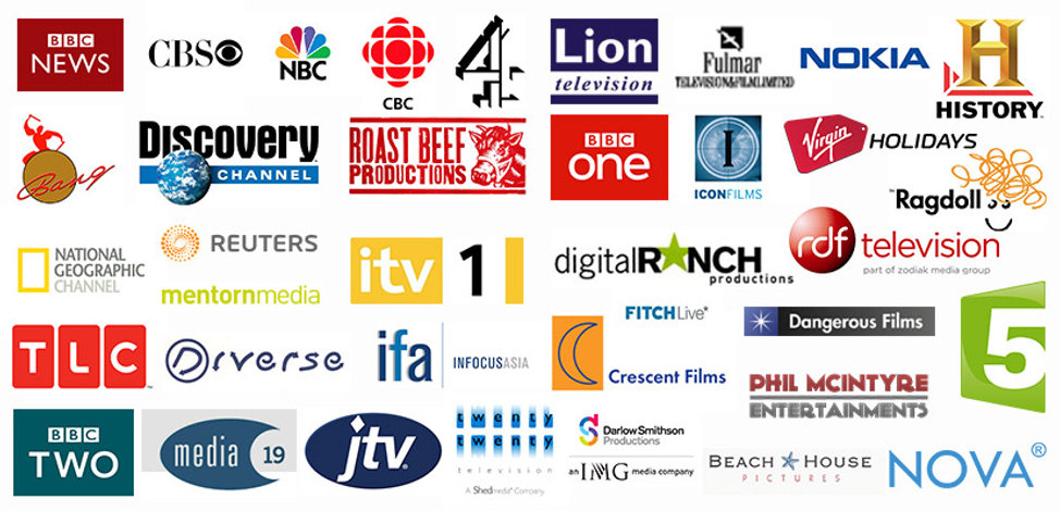 Logos of Television production companies and broadcasters