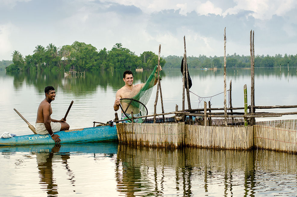 Kiran Jethwa prawn fishing in the Madu river in Sothern Sri Lanka