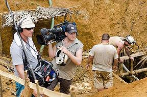 Cameraman and sound recordist at film location. Fixer in Sri Lanka.