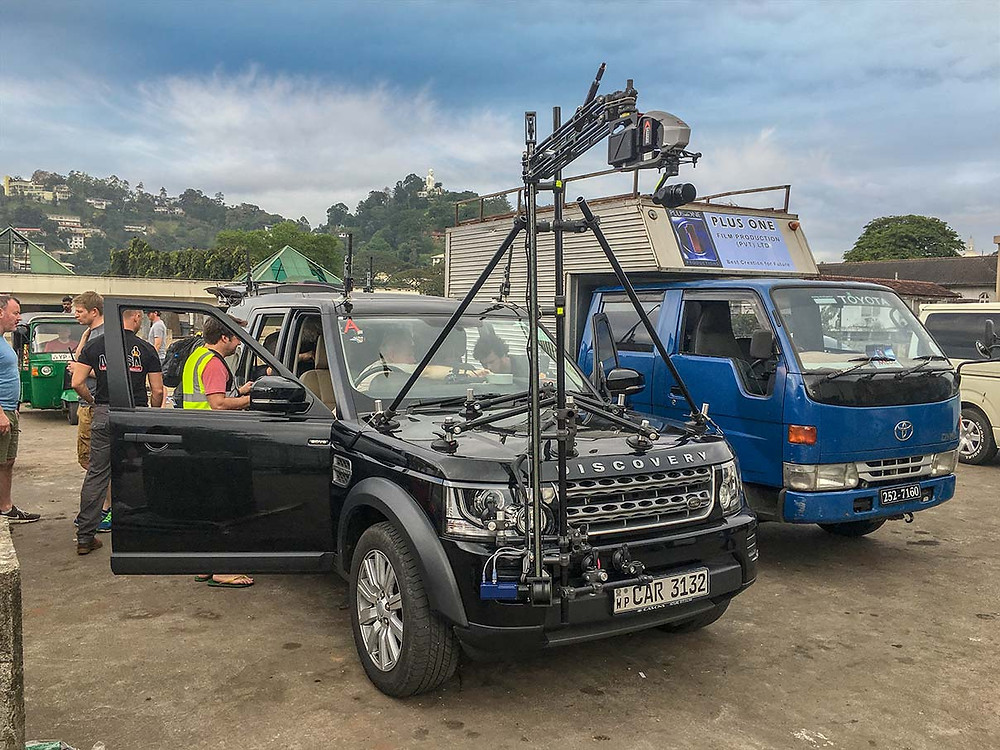 Car-mounted remote camera rig mounted on a Land Rover Discovery 4. Top Gear filming in Sri Lanka.