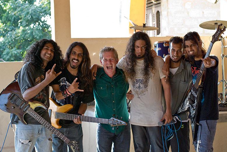 Ian Wright with Sri Lankan heavy metal band Stigmata
