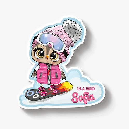 Eule Girl mit Snowboard