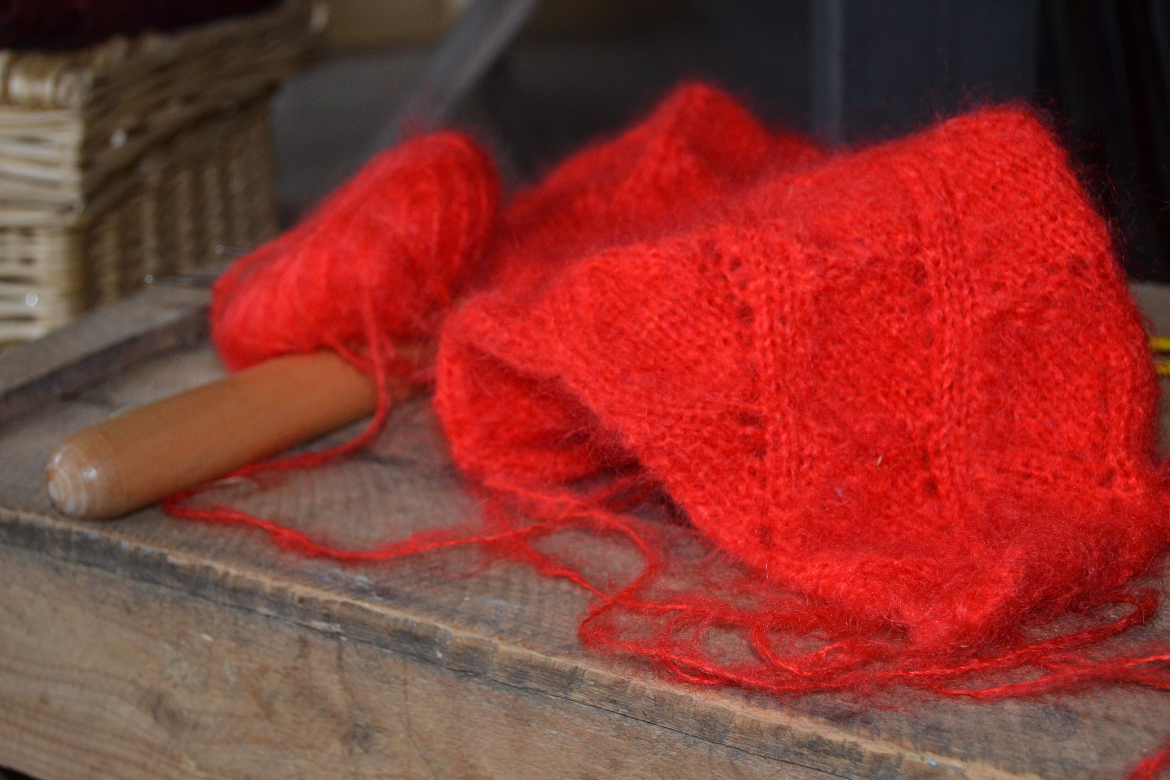 Echarpe pur mohair tricotée main