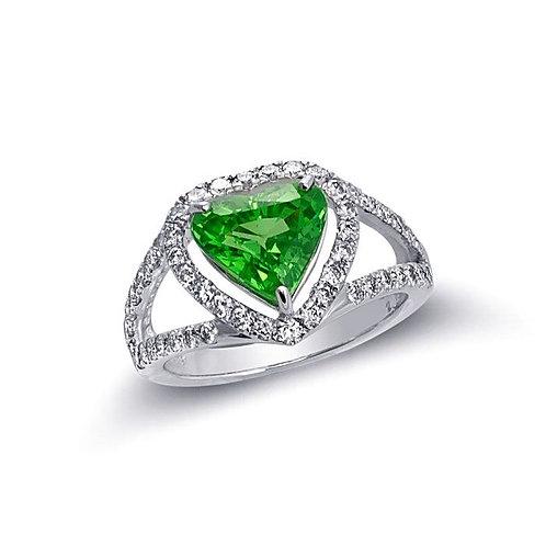 14k White Gold 3.6ct TGW Green Tsavorite and White Diamond Ring