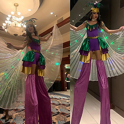 Stilt walker performers for corporate entertainment or private party bookings.