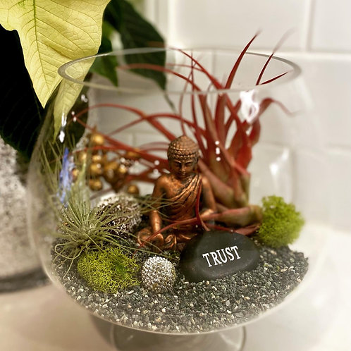 Brandy glass zen terrarium