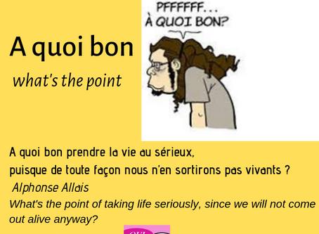 A QUOI BON= WHAT'S THE POINT