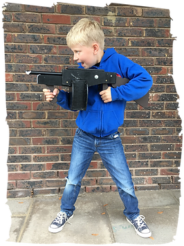 Boy with splurge gun