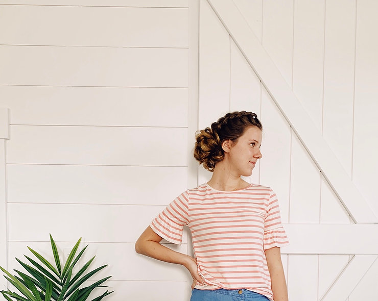 Pink and Cream Striped Top