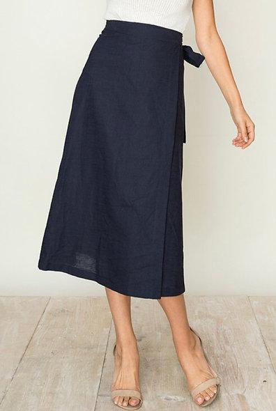 Navy Linen Wrap Skirt