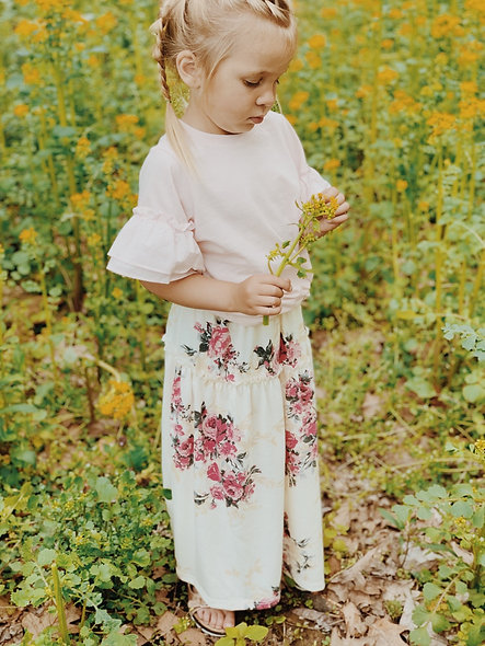 Girls Ivory Floral Maxi Skirt